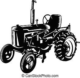 bauernhof, weißes, retro, holzschnitt, weinlese, schwarz, traktor