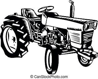 bauernhof, weißes, seitenansicht, holzschnitt, weinlese, schwarz, traktor