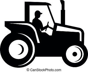 bauernhof, weißes, seitenansicht, weinlese, schwarz, traktor, silhouette