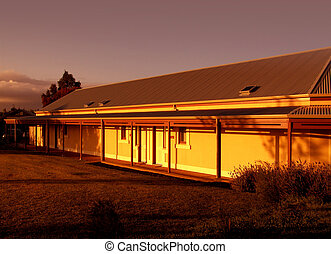 bauernhofhaus, an, sonnenaufgang