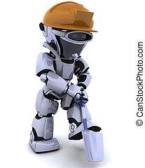 baugewerbe, roboter, spaten