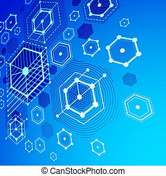Bauhaus art dimensional composition, perspective blue modular vector wallpaper with honeycombs. Retro style pattern, graphic backdrop for use as booklet cover template.