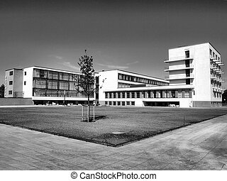 The Bauhaus building in Dessau near Berlin, Germany - high dynamic range HDR - black and white