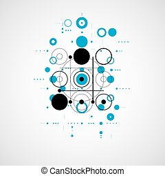 Bauhaus retro wallpaper, art vector blue background made using grid and circles. Geometric graphic 1960s illustration can be used as booklet cover design.