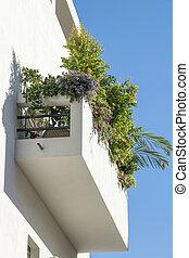 Bauhaus style building exterior balcony view, tel aviv, israel