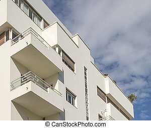 Bauhaus style apartment building exterior view, tel aviv, israel