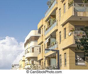 Bauhaus style apartment buildings exterior view, tel aviv, israel