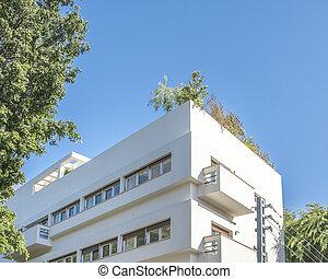 Bauhaus style building exterior view, tel aviv, israel