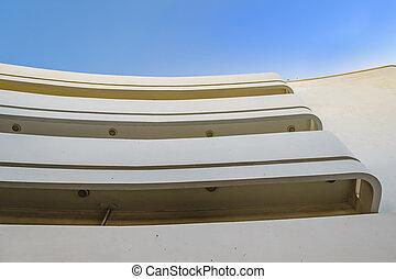 White bauhaus style building exterior detail view, tel aviv, israel