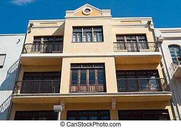 Details of Bauhaus architecture style house The White City Tel Aviv Israel