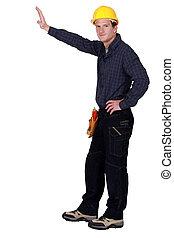 bauhofarbeiter, besitz, seine, hand, gegen, leerer , copyspace