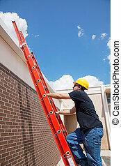 bauhofarbeiter, klettert, zu, dach