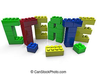 baukloetze, gebaut, schaffen, -, wort