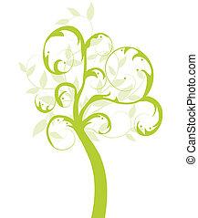 baum, ökologie, vektor, grün