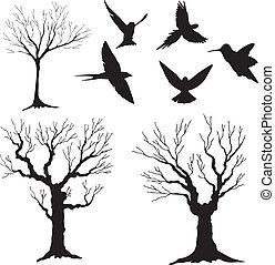 baum 3, vektor, silhouette, vögel