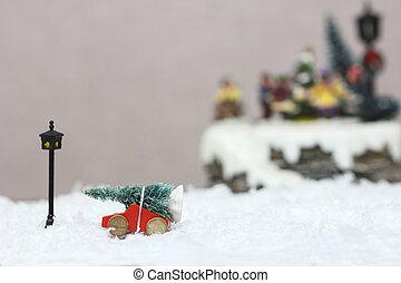baum, auto, weihnachten, spielzeug
