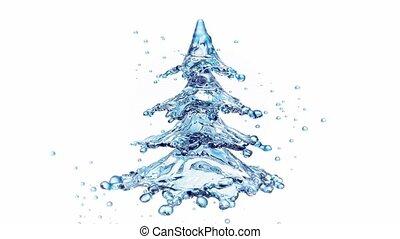 baum, freigestellt, wasser, spritzen, weißes weihnachten
