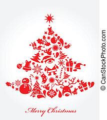 baum, gemacht, von, weihnachten, elemente