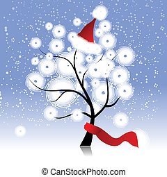 baum, hut, weihnachten, winter