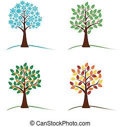 baum, in, vier jahreszeiten, -, fruehjahr, sommer, herbst, winter