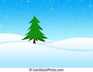 baum, in, winterlandschaft