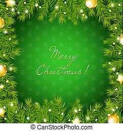 baum, kugel, umrandungen, weihnachten, gold