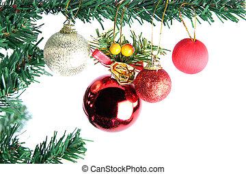 baum., kugeln, weihnachten, rotes , hängender