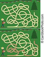 baum, labyrinth, weihnachten