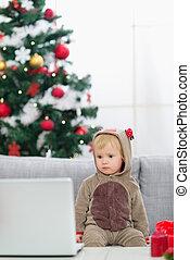 baum, laptop, hirsch, schauen, kostüm, baby, weihnachten