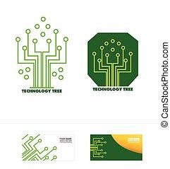 baum, logo, ikone, stromkreis, begriff, technologie
