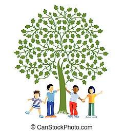 Children together under a tree