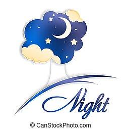 baum, mit, mond, wolkenhimmel, und, nacht himmel