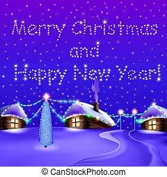 baum, nacht, abbildung, häusser, garlands., weihnachtskarte
