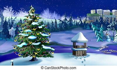 baum, schnee, weihnachtsbeleuchtung, fallender , gefunkel