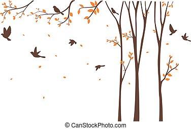 baum, silhouette, vögel, vogelkäfig