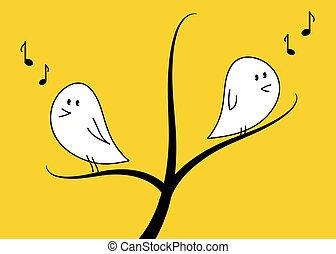 baum, singende, vögel
