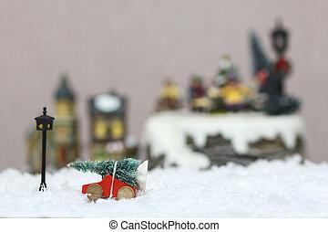 baum, spielzeug, weihnachten, auto