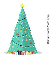 baum, verbeugungen, girlanden, dekoriert, weihnachtsglocken