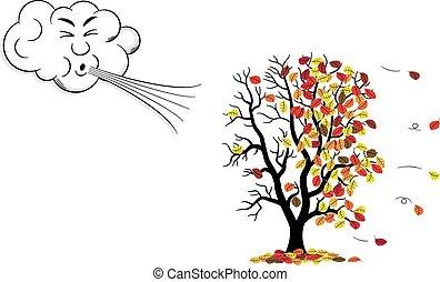 baum, verliert, wind, laub, herbst, schläge, karikatur, ...