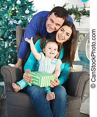 baum, weihnachten, familie, glücklich