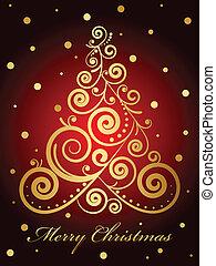 baum, weihnachten, gold, aufwendig