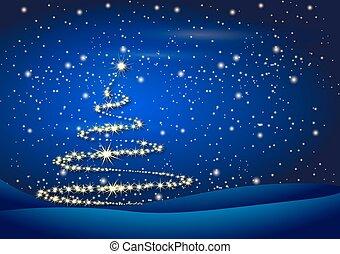 baum, weihnachten, hintergrund, nacht