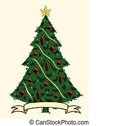 baum, weihnachten, holzschnitt