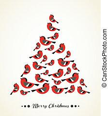 baum, -, weihnachten, retro, vögel, karte