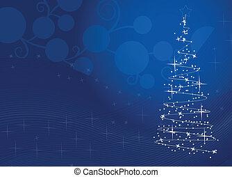 baum, weihnachten, schneeflocken