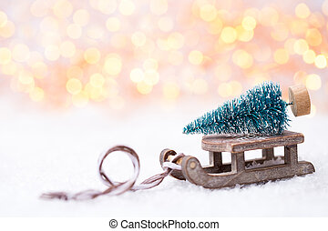 baum, weihnachten, sled.