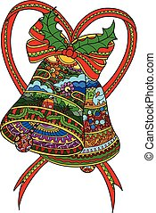 baum, weihnachten, vektor, glocken, decorations.