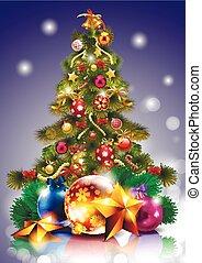 baum, weihnachtsdekorationen