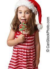 baum, zuckerl, lutscher, lecken, santa, m�dchen, weihnachten
