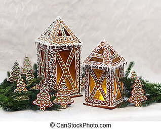 baum, Zweige, Weihnachten, Hütten, Lebkuchen
